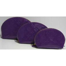 Женская лаковая косметичка 3в1 (фиолетовая) 17-03-074