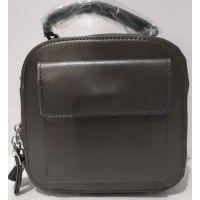 Женский кожаный клатч (тёмно-серый) 20-07-002