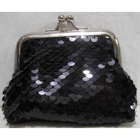 Детский кошелёк с паетками на поцелуйчиках (чёрный) 18-10-043