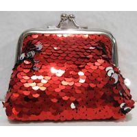 Детский кошелёк с паетками на поцелуйчиках (красный) 18-10-043