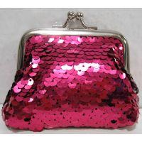 Детский кошелёк с паетками на поцелуйчиках (розовый) 18-10-043