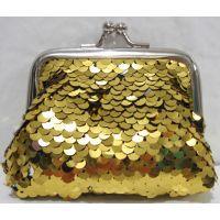 Детский кошелёк с паетками на поцелуйчиках (золотой) 18-10-043