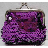 Детский кошелёк с паетками на поцелуйчиках (фиолетовый) 18-10-043