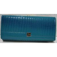 Женский кожаный лаковый кошелёк (бирюзовый) 18-10-052