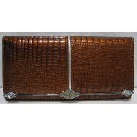 Женский кожаный лаковый кошелёк (коричневый) 18-10-053