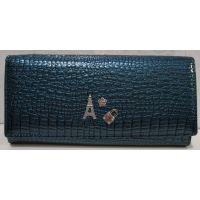 Женский кожаный лаковый кошелёк (цвет морской волны) 18-10-054