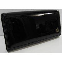 Женский кожаный лаковый кошелёк на магнитах (чёрный) 18-10-062