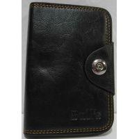 Мужской раскладной кошелёк на кнопке (чёрный) 19-02-002