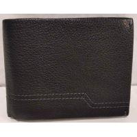 Мужской кожаный кошелёк с зажимом (чёрный) 20-01-049