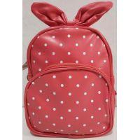 Детский рюкзак для девочки в горошек с бантом (коралловый) 20-01-024