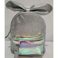 Детский небольшой рюкзачок для девочки с прозрачным карманчиком (серебряный) 20-01-026