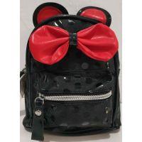 """Детский небольшой лаковый рюкзачок для девочки """"Минни"""" (чёрный) 20-01-027"""