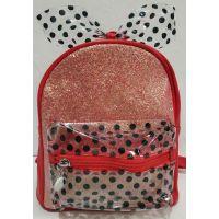 Детский рюкзак для девочки с прозрачным карманчиком и бантом в горошек (красный) 20-01-028