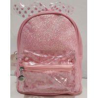 Детский рюкзак для девочки с прозрачным карманчиком и бантом в горошек (светло-розовый) 20-01-028