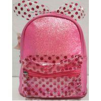 Детский рюкзак для девочки с прозрачным карманчиком и бантом в горошек (розовый) 20-01-028