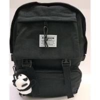 """Тканевой рюкзак + значок """"Панда"""" (чёрный)  20-12-048"""
