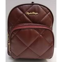 Женский городской стёганый рюкзак (бордовый) 21-04-001