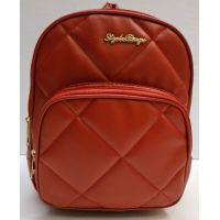 Женский городской стёганый рюкзак (красный) 21-04-001