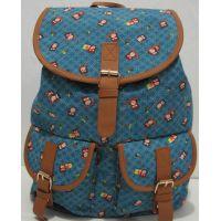 """Тканевый рюкзак с карманом """"Совы"""" (голубой) 17-8-003"""