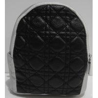 Городской небольшой рюкзак (серебряный с чёрным фасадом) 19-03-060
