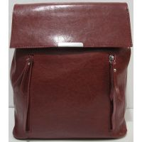 Городской глянцевый рюкзак - сумка  (бордовый) 19-06-036
