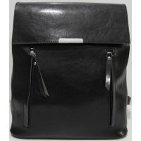 Городской глянцевый рюкзак - сумка  (чёрный) 19-06-036