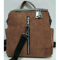Женский стильный рюкзак-сумка (коричневый) 19-11-034