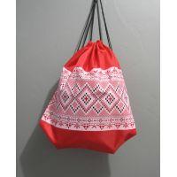 Рюкзак для обуви с печатью-вышивкой (красный) 17-3-128