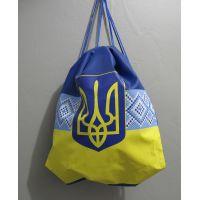 Рюкзак для обуви с печатью-вышивкой (синий) 17-3-128