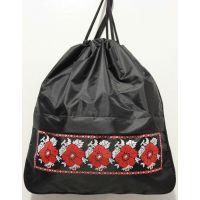 Рюкзак для обуви с расширением (чёрный с вышивкой-принтом) 17-9-036