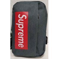 Тканевая спортивная сумка через плечо с USB (тёмно серая)  19-09-006