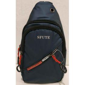 Тканевая сумка-бананка через плечо (синяя) 19-09-012