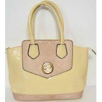 Женская лаковая сумка с вставками (бежевая) 16-05-034