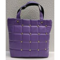 Женская стёганая сумочка с заклёпками (сиреневая) 21-04-003
