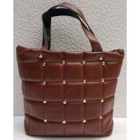 Женская стёганая сумочка с заклёпками (бордовая) 21-04-003