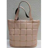 Женская стёганая сумочка с заклёпками (розовая) 21-04-003