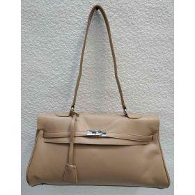 Женская сумка на защёлке (тёмно-бежевая) 21-04-020