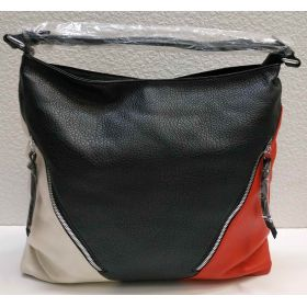 Женская комбинированная сумка (чёрная) 21-04-025