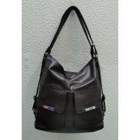 Женская сумка-рюкзак   (шоколадная) 21-09-024