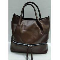 Женская сумка с карманом  (коричневая) 21-09-028