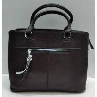 Женская сумка с брелком со стразами  (шоколадная) 21-09-029