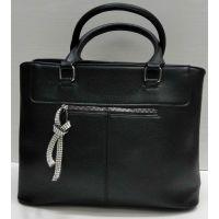 Женская сумка с брелком со стразами  (чёрная) 21-09-029