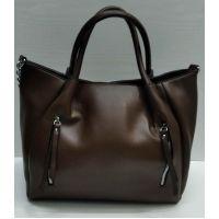 Женская сумка с карманом  (коричневая) 21-09-030