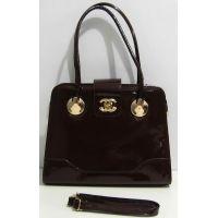 Женская лаковая сумка (коричневая) 16-09-081