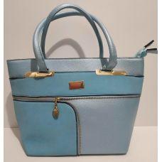 Женская комбинированная сумка (голубая) 17-03-040