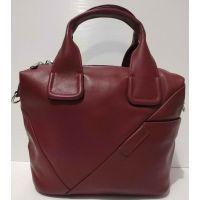 Женская кожаная сумка (бордовая) 20-10-001