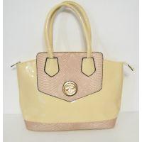 Женская лаковая сумка с вставками под кожу Питона (бежевая) 16-05-034