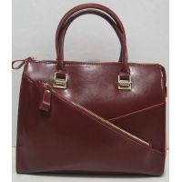 Женская кожаная сумка с карманом на фасаде (бордовая) 17-11-009