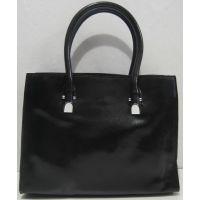 Женская кожаная сумка на три отделения (чёрная) 17-11-010