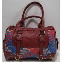 Женская комбинированная сумка (красная) 18-02-001